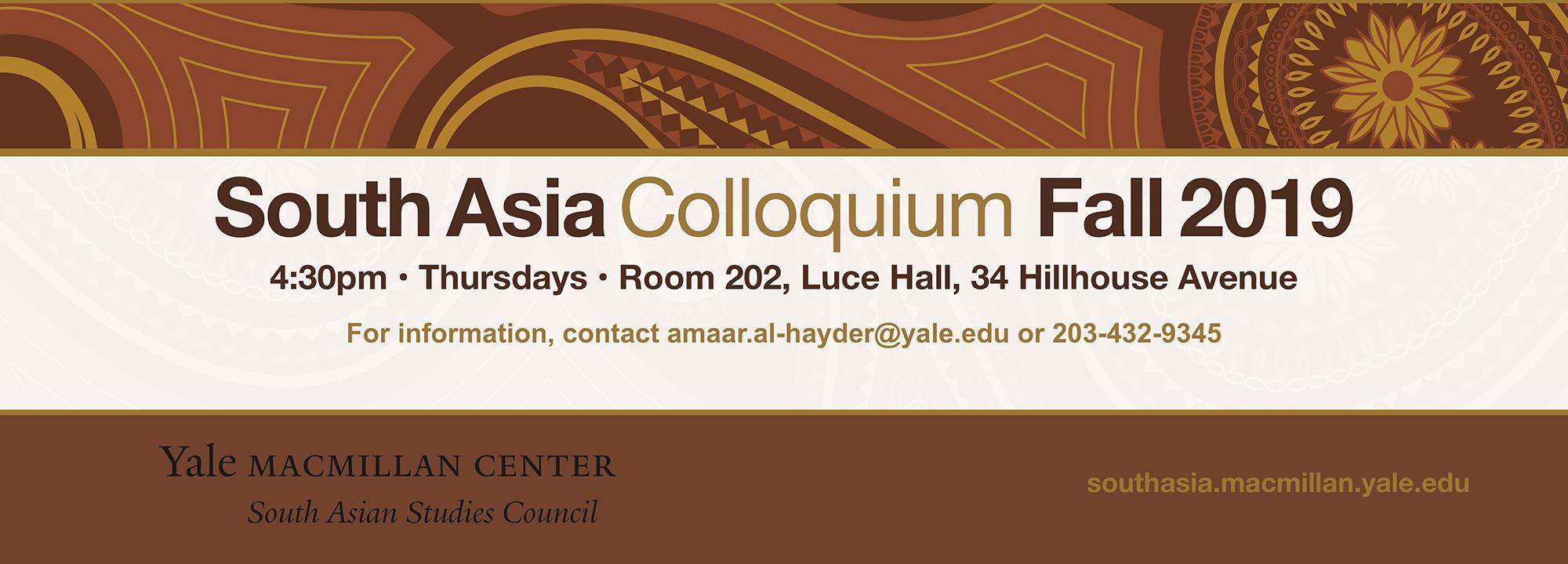 South Asia Colloquium Fall 2019