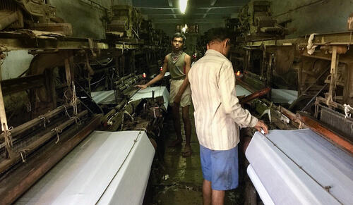 Workers at a textile company in India. (Photo credit: Vestal McIntyre)