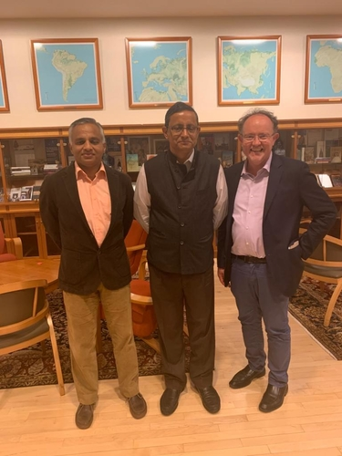 From left: Sushant Singh, Sanjay Mitra, and Steven Wilkinson, Henry R. Luce Director of the MacMillan Center and Nilekani Professor of India & South Asian Studies